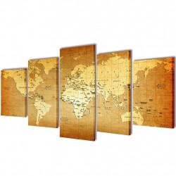 Декоративни панели за стена Карта на света, 100 x 50 см - Картини, Плакати, Пъзели