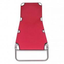 Sonata Сгъваем шезлонг, прахово боядисана стомана, червен - Шезлонги