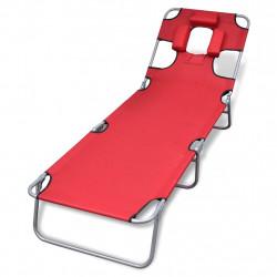 Sonata Сгъваем шезлонг с възглавница прахово боядисана стомана червен - Шезлонги