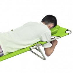 Sonata Сгъваем шезлонг с възглавница, прахово боядисана стомана, зелен - Шезлонги