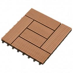 WPC декинг плочки за 1 кв. м, 11 бр, 30 x 30 см, кафяви - Подови настилки