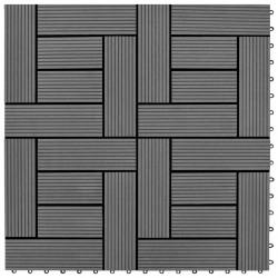 WPC декинг плочки за 1 кв. м, 11 бр, 30 x 30 см, сиви - Подови настилки