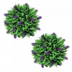 Комплект 2 изкуствени топки с лавандула, 28 см - Изкуствени цветя
