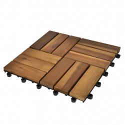 Декинг плочки, акациево дърво, 30 x 30 см - 10 броя - Подови настилки