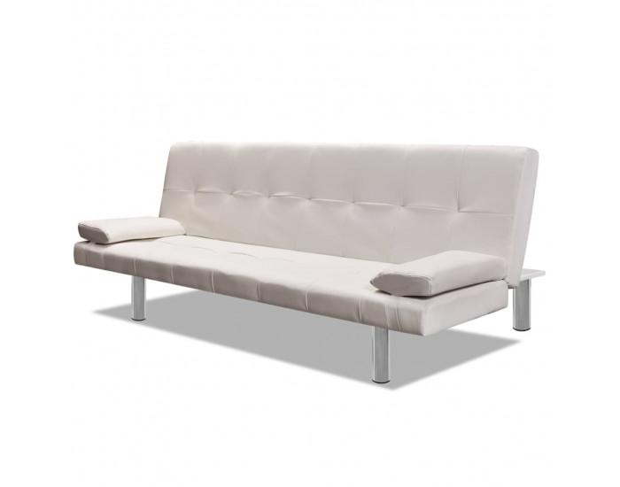Sonata Разтегателен диван с две възглавници, изк. кожа, кремаво бял -