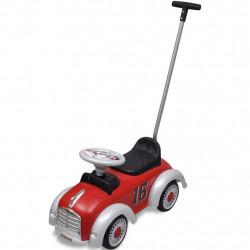 Детска кола за бутане, с дръжка, ретро дизайн, червена - Детски превозни средства