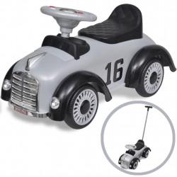 Детска кола за бутане, с дръжка, ретро дизайн, сива - Детски превозни средства