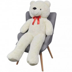 Мека плюшена играчка мече XXL, бяло, 100 см - Детски играчки