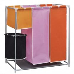 Текстилен троен разделител за сортиране на пране с кофа за миене - Перални