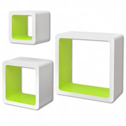 Стенни рафтове за съхранение на книги / DVD, MDF, 3 бр, бяло/зелено - Етажерки