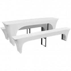 3 покривки-калъфи за маса и две пейки, еластични, бели, 220x50x80см - Сравняване на продукти