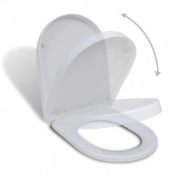 Квадратна тоалетна седалка с плавно затваряне, бяла - Продукти за баня и WC