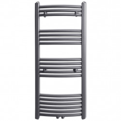 Лира за баня, централно отопление, извит дизайн, сива, 500 x 1160 мм - Радиатори и Лири