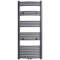 Лира за баня, централно отопление, извит дизайн, сива, 600 x 1424 мм - Радиатори и Лири