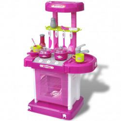 Детска кухня за игра със светлинни и звукови ефекти, розов цвят - Детски играчки