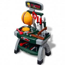 Детска работна маса с инструменти, цвят зелен + сив - Детски играчки
