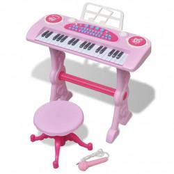 Детско пиано с 37 клавиша, стол и микрофон, розов цвят - Детски играчки