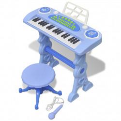 Детско пиано с 37 клавиша, стол и микрофон, син цвят - Детски играчки