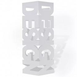Квадратна стоманена стойка за чадъри, щеки за ходене 48,5 см, бяла - Изтривалки и Поставки за чадъри