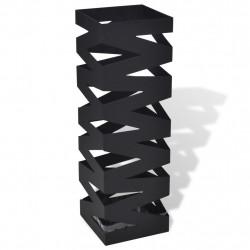 Квадратна стойка за бастуни и чадъри, стомана, черна, 48.5 см - Изтривалки и Поставки за чадъри