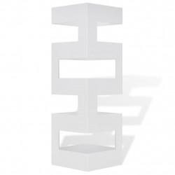 Квадратна стойка за чадъри и бастуни, бяла, стомана, 48,5 см - Изтривалки и Поставки за чадъри