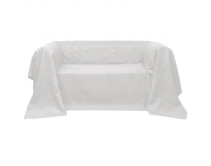 Калъф за диван, микро велур, кремав, 140 x 210 cм -