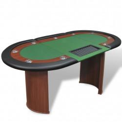 Sonata Покер маса за 10 играчи с дилър зона и табла за чипове, зелена - Спортни Игри