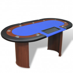 Sonata Покер маса за 10 играчи с дилър зона и табла за чипове, синя - Спортни Игри