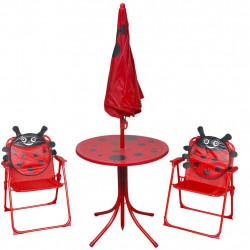 Sonata Детски градински бистро комплект от 3 части, с чадър, червен - Градински комплекти