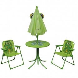 Sonata Детски градински бистро комплект от 3 части, с чадър, зелен - Градински комплекти