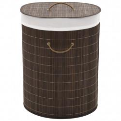 Sonata Бамбуков кош за пране, овален, тъмнокафяв - Техника и Отопление