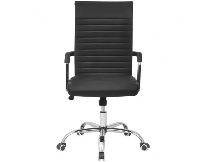 Oфис стол от изкуствена кожа 55 х 63 см, черен цвят -