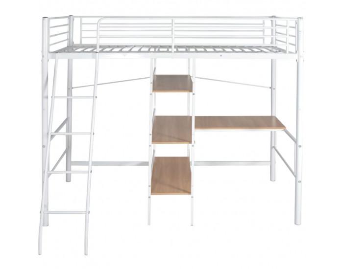 Sonata Високо легло с бюро, бяло и кафяво, метал, 90x200 см -
