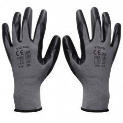 Sonata Работни ръкавици, от нитрил, 24 чифта, сиво и черно, размер 9/L - Предпазни облека