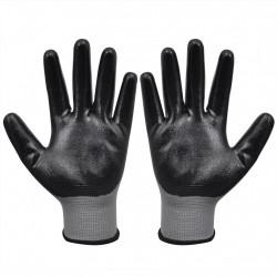 Sonata Работни ръкавици, от нитрил, 24 чифта, сиво и черно, размер 10/XL - Предпазни облека