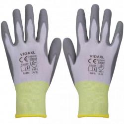 Sonata Работни ръкавици, PU, 24 чифта, бяло и сиво, размер 10 / XL - Предпазни облека