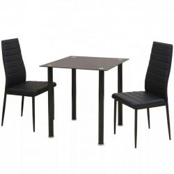 Sonata Трапезен комплект от три части - маса и столове, черен - Комплекти маси и столове