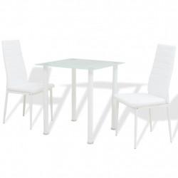 Sonata Трапазен комплект от 3 части, маса и два стола, бял - Комплекти маси и столове