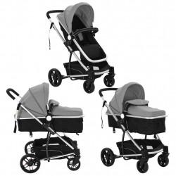 Sonata Детска/бебешка количка 2-в-1, алуминий, сиво и черно - Детски превозни средства