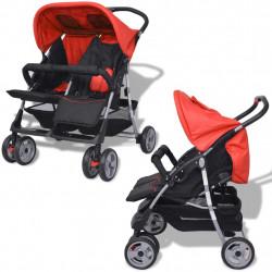 Sonata Бебешка количка за близнаци, стомана, червено и черно - Детски превозни средства