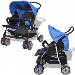 Sonata Бебешка количка за близнаци, стомана, синьо и черно - Детски превозни средства