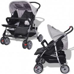 Sonata Бебешка количка за близнаци, стомана, сиво и черно - Детски превозни средства