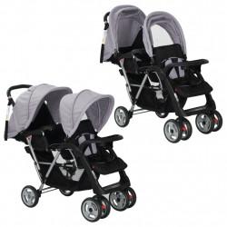 Sonata Бебешка количка - двойна, стоманено сиво и черно - Детски превозни средства