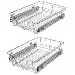 Sonata Плъзгащи се телени кошници, 2 бр, сребристи, 400 мм - Малки домакински уреди