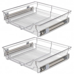 Sonata Плъзгащи се телени кошници, 2 бр, сребристи, 600 мм - Малки домакински уреди