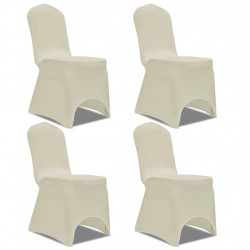 Sonata Покривни калъфи за столове, еластични, 4 бр, кремави - Калъфи за мебели
