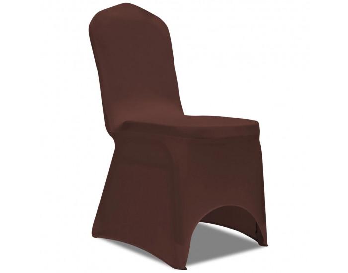 Sonata Покривни калъфи за столове, еластични, 6 бр, кафяво -