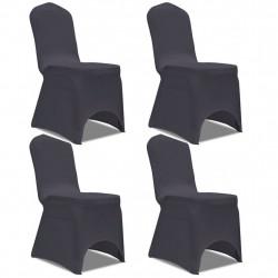 Sonata Покривни калъфи за столове, еластични, 4 бр, антрацитно черно - Калъфи за мебели
