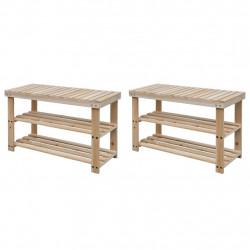 Sonata 2-в-1 етажерка за обувки с пейка, 2 бр, масивна дървесина - Сравняване на продукти