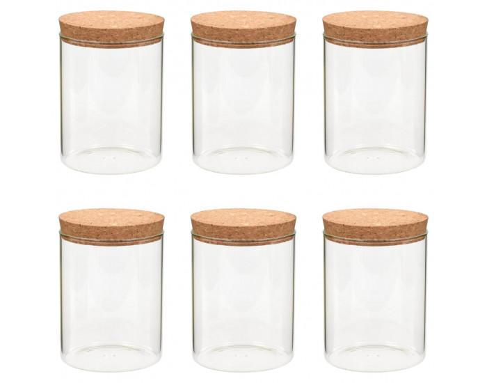 Sonata Стъклени буркани за съхранение с коркови капаци, 6 бр, 650 мл -